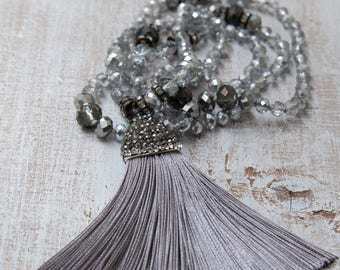 Silk Tassel Necklace, Grey - Silver Tassel Necklace , Boho Chic Necklace, Gift for her by VintageRoseGallery