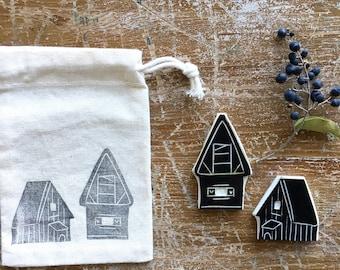 Tampons en caoutchouc «maisons de montagne»-Pack. 2 pces.