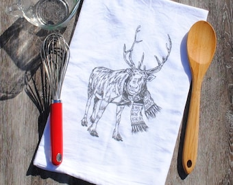 Reindeer Kitchen Towel - Flour Sack Towel - Christmas Towel - Reindeer Towels - Winter Kitchen Linens - Christmas Gift