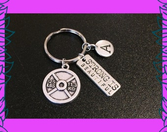 Fitness gift, fitness keychain, personalised fitness key ring