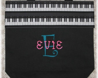 Piano music bag, personalized music lesson book bag, recital birthday gift idea music lover canvas tote bag for kids children