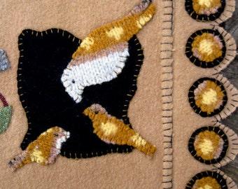 Busy Birds Wool Penny Rug Table Runner in Taupe OOAK