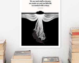 SHAKESPEARE Literary Art Print, Pages Large Wall Art Posters, Literary Quote Poster, Illustration, Minimalist Prints, Bookish Gift for Him