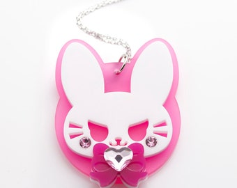 Bad Buns in Pink Laser Cut Acrylic D.Va Overwatch Inspired Necklace Brooch or Keychain (Large)