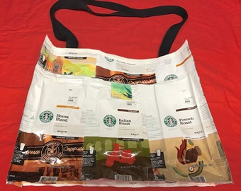 Handmade tote Made With Recycled Starbucks Coffee bags upcycled repurposed