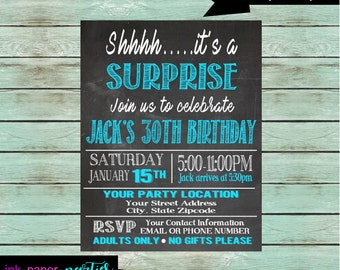 Surprise Party ~ ANY COLORS~ Chalkboard Birthday Party Invitations Invites ~ We Print and Mail to You