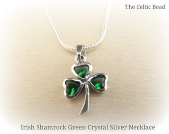 Beautiful Irish Green Crystal Small Sterling Silver Shamrock Pendant on Silver Necklace
