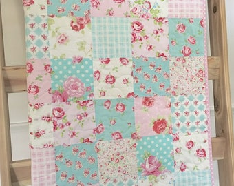 Roses baby quilt, pink-blue-teal-aqua, floral, crib bedding, baby bedding, nursery bedding