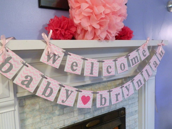 Baby shower decorations welcome baby banner chevron baby for Welcome baby home decorations