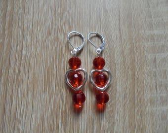 """Earrings fancy """"Heart"""" beads and silver"""
