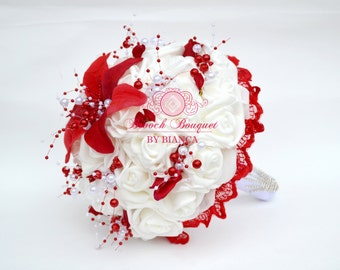 Brooch Bouquet Red, Pearl bouquet, Fake red roses bouquet, White Brooch bouquet, Bouquet boeme, Bridal bouquet, Alternative red bouquet