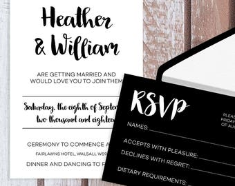 Black and White Wedding Invitations, RSVPs, Info Cards. Personalised Wedding Stationery.