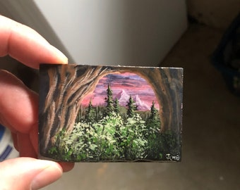 John Kenward Original Miniature Painting/Fridge Magnet