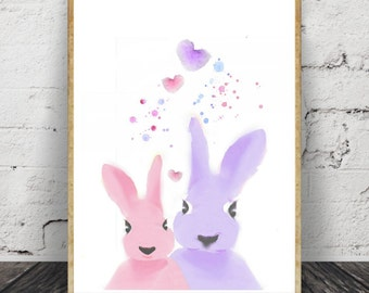 Bunny Print, Nursery wall art, Nursery decor, cute print, cute nursery, bunny nursery, Nursery wall decor, Kids room decor, Pic. No. 130