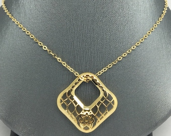 14K Yellow Gold Large Open Square Necklace