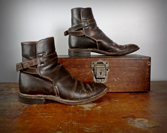 Vintage 1950s Acme Ankle Strap Leather Motorcycle Boots, Sz 6 (Ladies)