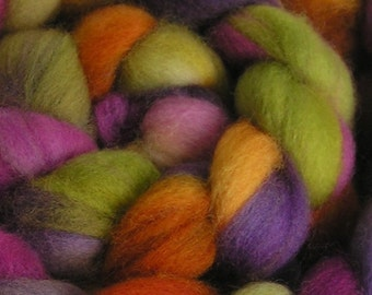 Fiber Roving Top Falkland Wool Rove MY FLOWER GARDEN Top Hand Painted Wool Spin Felt Craft Roving 4 ounces