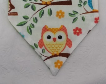 Cute Lil' Hoot! Warm Color Orange Yellow Baby Owl Theme. Great 4 Dog, Cat & Ferret. Reversible 2 in 1 Over the Collar.