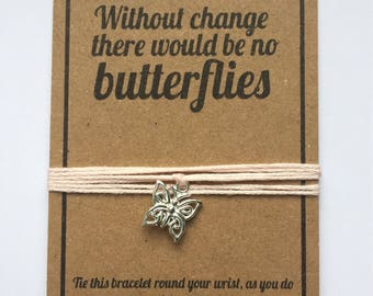 Butterfly change friendship wish charm bracelet
