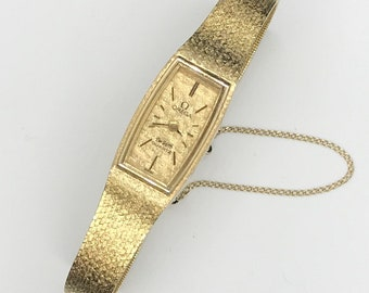 14 Karat Yellow Gold Watch Ladies Vintage Omega Mesh Bracelet 14K Stunning