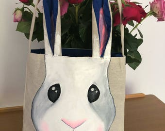 Easter Bunny bag *TOTES ADORBS* Dark blue inner