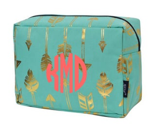 Mint and Gold Arrow Cosmetic Bag