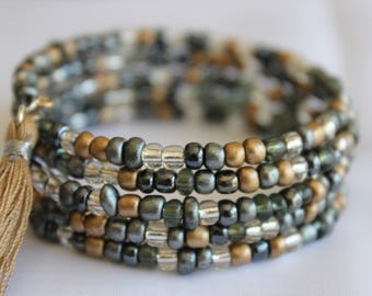 Black/Gray/Clear/Bronze Glass Seed Beads, Memory Wire, Beige Tassel Charm