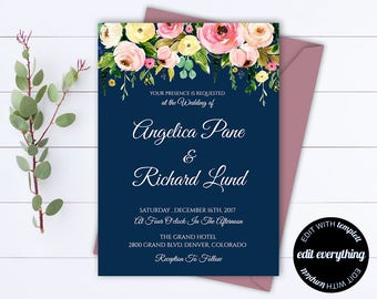 Blue Floral Wedding Invitation Printable Wedding Invitations Printable Invitation Suite Floral Invitation Set Floral Invitation Template