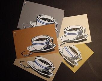 5 Coffee Cup Postcard Prints Seconds