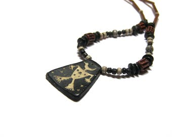 Vintage Egyptian Pendant Ethic Pendant Tribal Jewelry gift for her gift for him Egyptian amulet pendant jewelry pendant with figure