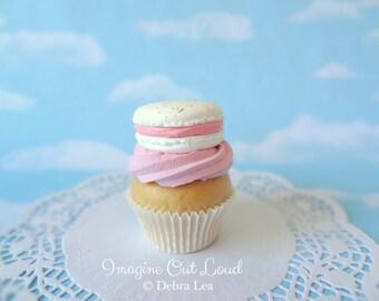 Fake Cupcake Pink Gold Splattered Macaron Decor Fake Food Kitchen Display