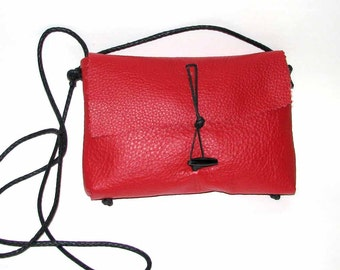 Red Cowhide Mama Hippo Cross Body Handbag Handmade