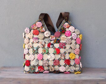 Colorful Flower Bag, Hand folded and Sewn Flowers, Leather Straps