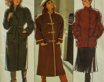 Stand-up Collar Coat Pattern, Straight, Lined, Raglan Sleeves, Cuffs, Patch Pockets, Buttons/Toggles, Style No. 4201 UNCUT Size Medium 14-16