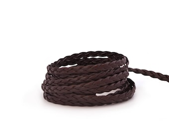 Dark brown braided faux leather cord