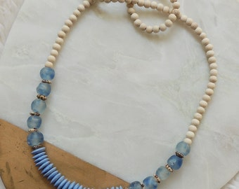 Sawyer Sea Glass Beaded Necklace in Blue