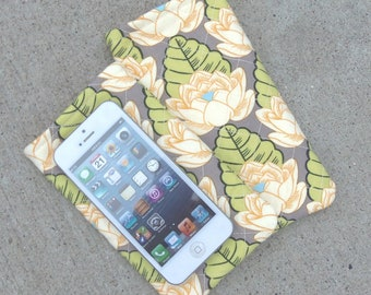 Quilted Lotus Blossom Cellphone Case 3.5 x 6 Inches w/ XL/Plus Size Option