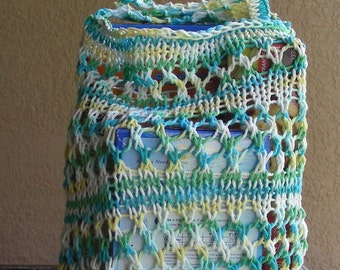 Farmers Market Bag String Bag Grocery Bag Beach Bag Tote reuseable green yellow blue white hand knit in 100% cotton. Be green