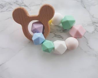 BPA Free Food grade silicone, finished wood teething ring. Disney, mouse, animal, pastel