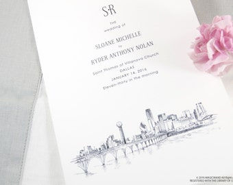 Dallas Skyline Wedding Programs (set of 25 cards)