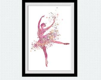 Ballerina art poster Ballerina decor print Ballerina watercolor illustration Dancing little girl poster Gift for birthday Home decor  W189