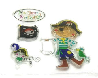 Pirate Board of 4 stamps / scrapbooking 10x10cm birthday