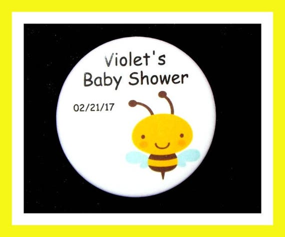 Baby Shower Bee Pins,Personalized Buttons,Favor Tags,Its a girl,Its a Boy,Party Favors,Birthday Party Favors,Personalized Favors,Set of 10
