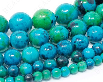 """Chrysocolla Beads Natural Gemstone Round Loose - 4mm 6mm 8mm 10mm 12mm - 15.5"""" Strand"""