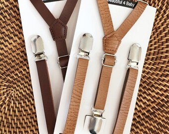 Leather Suspenders, Leather Toddler Suspenders, Leather Baby Suspenders, Leather Kid Suspenders,Leather Little Boy Suspenders,Rustic Wedding