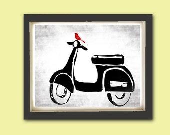 Vespa Print - Fine art print, Modern decor scooter, bike print, Vespa art