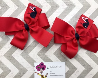Monogrammed Embroidered Whale Hair Bow