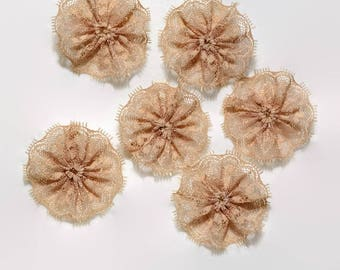 6 pc TAN lace rosettes - 1.5 inch lace twirls - Lace embellishments - Plain lace flowers - Scrapbook flowers - Card making flowers