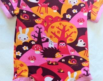 ORGANIC Baby Bodysuit Pink Forest Scene - 9 mos - HANDMADE