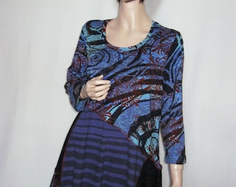 XL Swirls and Stripes Dress or Tunic
